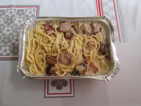 Spaghetti prosciutto funghi.