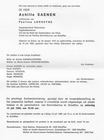 Achille Saenen doodsbrief