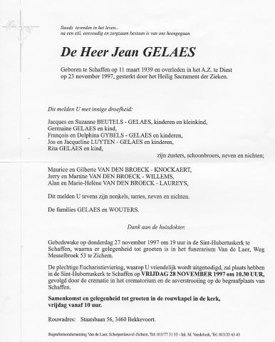 Jean Gelaes doodsbrief