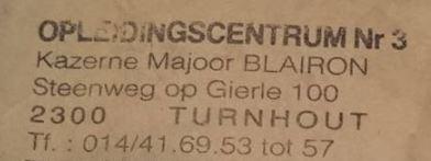 Adres Kazerne Majoor Blairon Turnhout