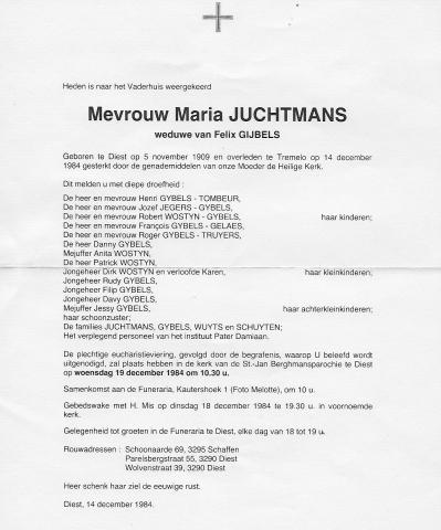 Maria Juchtmans, doodsbrief