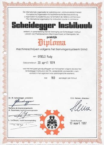 Diploma tienvingerblind typen