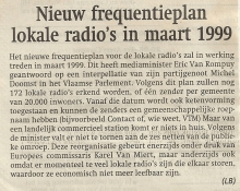 Artikel: Nieuw frequentieplan Lokale Radio's in maart 1999