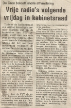 Artikel: Vrije radio's in Kabinetsraad