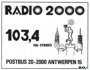 Sticker Radio 2000 Antwerpen