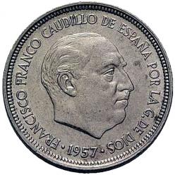 5 pesetas Spanje 1957